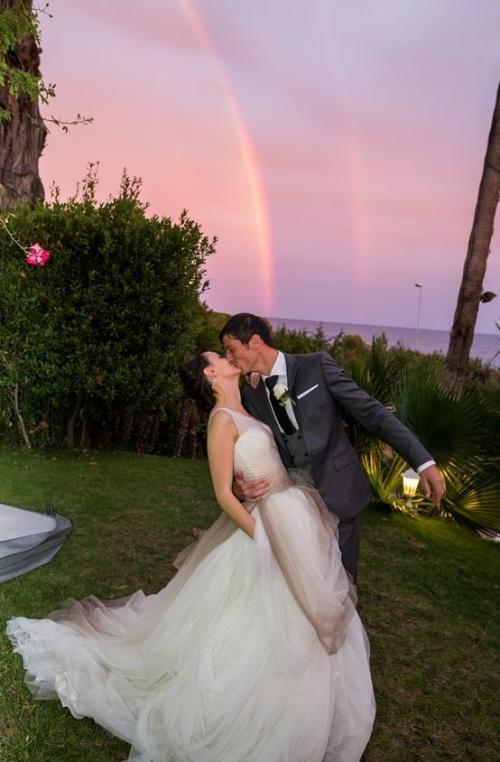Honeymoon moment with rainbow
